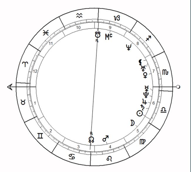 Kala Sarpa Yoga in horoscopul jucatoarei de tenis Serena Williams.  Rahu este aproape de Mijlocul Cerului.